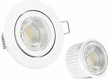 10x LED extra flache Einbauleuchte Set Form rund