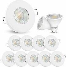 10x linovum LED Einbaustrahler Set 3W flach IP65