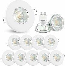 10x linovum® LED Einbaustrahler Set 3W flach IP65
