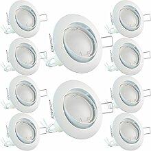 10x National Electronics® Deckenspots | GU10 3.5W 320 Lumen LED | Leuchtmittel AC 230V 120° Deckenlampe Einbauspot warmweiß (10er weiß)
