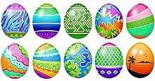 10x Oster Eier Set Aufkleber 9,5cm je Ei