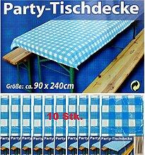 10x Party-Tischdecke Blau Weiß Bierzelt Garnitur Garten Bierbank Biertisch Fes