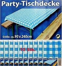 10x Party-Tischdecke Blau Weiß Bierzelt Garnitur