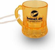 10x Schnapsglas am Band in gelb, Henkelstamper,