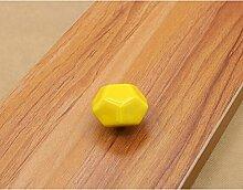 10x Türknöpfe Keramik Möbelknopf Möbelgriff Schrankgriffe Möbelgriffe (gelb)