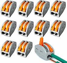 10x Verbindungsklemme Verbinder Elektrokabel Klemme Lüster Hebelklemme Abzweig