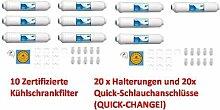 10x WASSERFILTER Kühlschrank Kühlschrankfilter SIDE by SIDE Aktivkohlefilter Wasserfilter z.B. für LG SAMSUNG Osmose