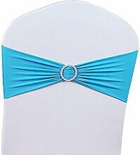 11 Farben 50Pcs Strecken Hochzeit Sessel Abdeckung Band mit Schnalle Schieberegler Schärpen Bogen Dekorationen (Himmelblau)