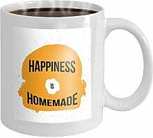 11 oz Coffee Mug happiness homemade typography