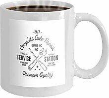 11 oz Coffee Mug service station vintage label