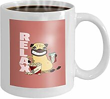 11 oz Coffee Mug smiling pug relaxing cartoon cola
