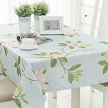 110* 110cm hellblau floral Leaf Rustikal europäischen Instagram Esstisch Tuch Baumwolle Leinen Garten Picknick quadratisch, rechteckig Umweltfreundlich,