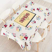110*110cm beige Gelb Geometrisch Rautenmuster Instagram Tischdecken Baumwolle leinen Esstisch rechteckigen quadrat nicht bügeln umweltfreundlich Tischtuch