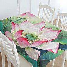 110* 170cm Chinese Green Lotus Cottage Art Instagram Esstisch Tuch Baumwolle Leinen Garten Picknick quadratisch, rechteckig Umweltfreundlich,