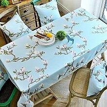 110* 170cm hellblau floral Leaf Rustikal europäischen Instagram Esstisch Tuch Baumwolle Leinen Garten Picknick quadratisch, rechteckig Umweltfreundlich,