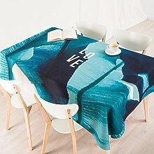 110*170cm blau Türkis modern Skandinavisch Instagram Tischdecken Baumwolle leinen Picknick Esstisch rechteckigen quadrat nicht bügeln umweltfreundlich Tischtuch
