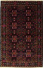 114x198 Caucasian Design Area Rug with Wool Pile - Tribal Balochi Design   100% Original Hand-Knotted in Maroon,Grey,Red colors   a 122 x 183 Rectangular Rug