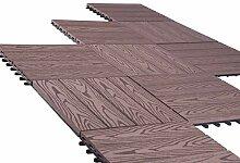 11er Set WPC Holz Fliese Terrassenfliesen