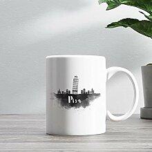 11oz Ceramic Coffee Mug, Pisa Skyline Coffee Mug,
