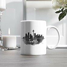 11oz Ceramic Coffee Mug, Seattle City Skyline