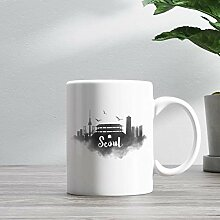 11oz Ceramic Coffee Mug, Seoul Skyline Coffee Mug,