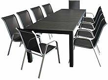 11tlg. Gartengarnitur - Gartentisch ausziehbar 205/275x100cm, Polywood Tischplatte + 10x Stapelstuhl, Textilenbespannung - silber / schwarz - Sitzgarnitur Sitzgruppe Gartenmöbel Terrassenmöbel