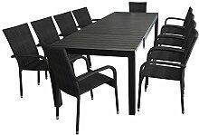 11tlg. Gartenmöbel Terrassenmöbel Set Sitzgruppe Gartengarnitur - Aluminium Ausziehtisch, 224/284/344x100cm, Polywood-Tischplatte, schwarz + 10x Poly-Rattan Gartenstuhl, schwarz, stapelbar