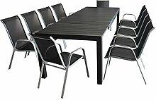 11tlg. Gartenmöbel Terrassenmöbel Set Sitzgruppe Gartengarnitur - Ausziehtisch, 224/284/344x100cm, Polywood-Tischplatte, schwarz + 10x Gartenstuhl, stapelbar, Textilenbespannung, silber/schwarz
