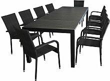 11tlg. Sitzgarnitur - Ausziehtisch 205/275x100cm, Tischplatte aus Polywood + 10x Stapelstuhl,Polyrattan - Schwarz / Sitzgruppe Gartenmöbel Set Terrassenmöbel Gartengarnitur