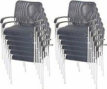 12 Besucherstühle Konferenzstühle stapelbar 12x Besucherstuhl grau Textil Stuhl