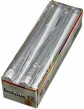 12 Bolsius Spitzkerzen Silber 245/24 mm