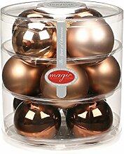 12 Christbaumkugeln GLAS 75mm // Weihnachtskugeln Baumkugeln Baumschmuck Weihnachtsdeko Kugeln Glaskugeln Dose, Farbe:Elegant Lounge ( schokolade braun )