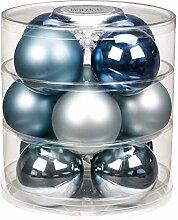 12 Christbaumkugeln GLAS 75mm // Weihnachtskugeln Baumkugeln Baumschmuck Weihnachtsdeko Kugeln Glaskugeln Dose, Farbe:Winter Night ( stahlblau )