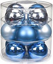 12 Christbaumkugeln GLAS 75mm // Weihnachtskugeln Baumkugeln Baumschmuck Weihnachtsdeko Kugeln Glaskugeln Dose, Farbe:Finaly Blue ( blau azurblau )