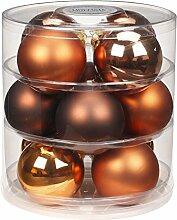 12 Christbaumkugeln GLAS 75mm // Weihnachtskugeln Baumkugeln Baumschmuck Weihnachtsdeko Kugeln Glaskugeln Dose, Farbe:Copper-Brown ( braun )