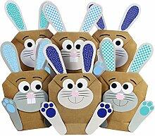 12 DIY Osterhasen zum selber Basteln und Befüllen - ein Geschenk von Herzen - zu Ostern Osterhase - blau - für Jungen