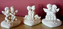 12 Figuren Engelpaar auf Herz 4 cm x 4 cm Dekoration Hochzeit Taufe Kommunion Gast Geschenk