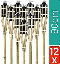 12 Gartenfackeln Fackeln 90 cm Naturfarbe Bambus