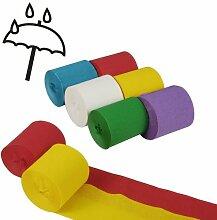 12 Krepp - Bänder a`10 m x 5 cm farbig sortiert wasserfest Partydekoration Kreppband Krepppapier