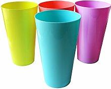 12 Kunststoffbecher von Belle Vous - farblich sortiert - wiederverwendbare Becher - für Partys, Hochzeiten, Campingausflügen, Strand und Picknick - geeignet für die oberste Lade im Geschirrspüler