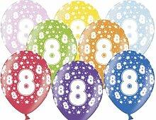 12 Luftballons 30 cm zum 8. Geburtstag - Kindergeburtstag Ballon - Kleenes Traumhandel®