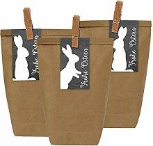 12 Ostertüten mit Osterhasen Aufklebern und Holzklammern - Geschenktüten für Kinder zu Ostern - zum Verschenken