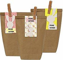12 Ostertüten mit Osterhasen Aufklebern und Klammern aus Holz - Geschenktüten für Kinder zu Ostern - zum Verschenken