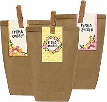 12 Ostertüten mit Osterhasen Stickern und Holzklammern - Geschenktüten für Kinder zu Ostern - zum Verschenken