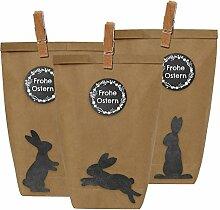 12 Ostertüten und Osterhasen Aufkleber - mit Klammern aus Holz - Geschenktüten aus Papier für Kinder zu Ostern - zum Verschenken