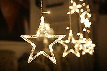 12 Sterne LED Lichtervorhang Lichterkette Lang Sterne Farbwechsel fur Innen/Ausen Deko Weihnachtsdeko fur Fenster Garten Zimmer