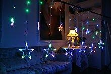 12 Sterne LED Lichtervorhang Lichterkette Lang
