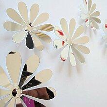 12 Stk Vinyl 3D Abnehmbare dekorative Silber Spiegel Blume Wandaufkleber für Kinder Zimmer Weihnachten Art Wall Home Decor P 0,16, Spiegel