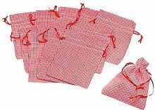 12 Stoffbeutel, rot-weiß kariert 10x15cm