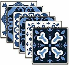 12 Stück Blaue Retro Textur Fliesenaufkleber,